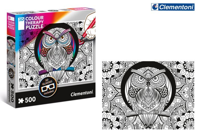CLEM PZL  500 3D COLOR THERAPY OWL    35050